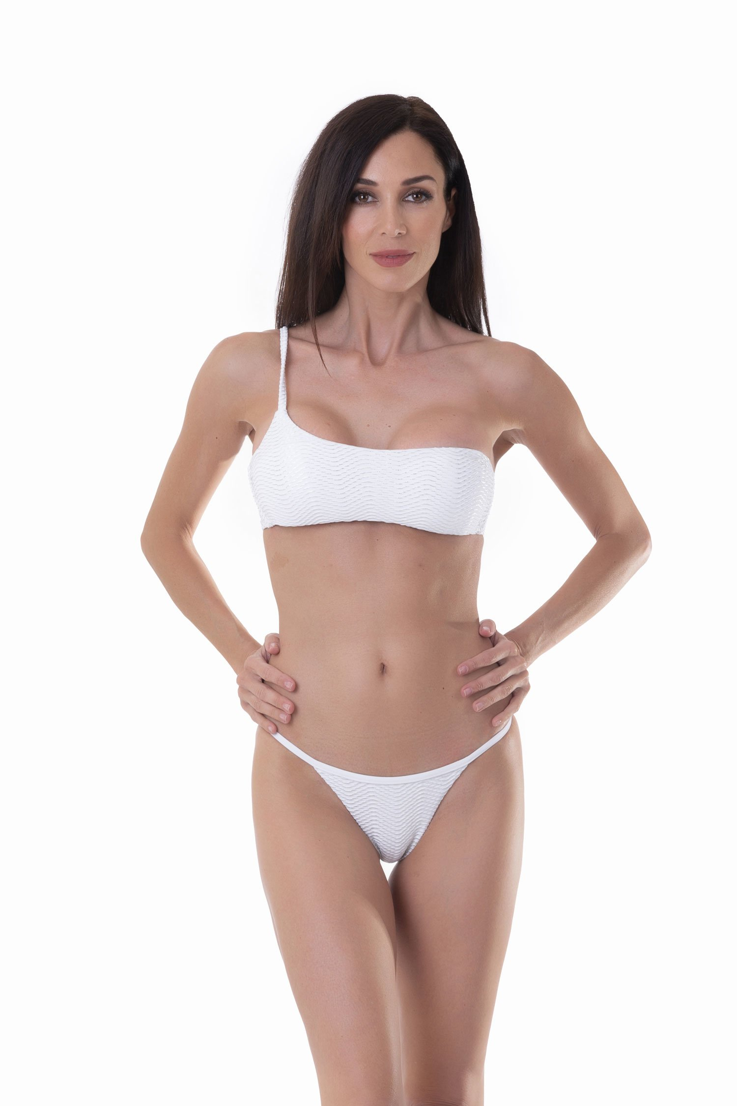 ONE SHOULDER BIKINI IN OPERATED MICROFIBER - Bianco