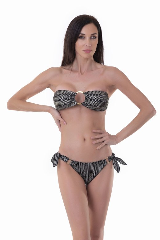 BANDEAU BIKINI WITH METAL CIRCLES