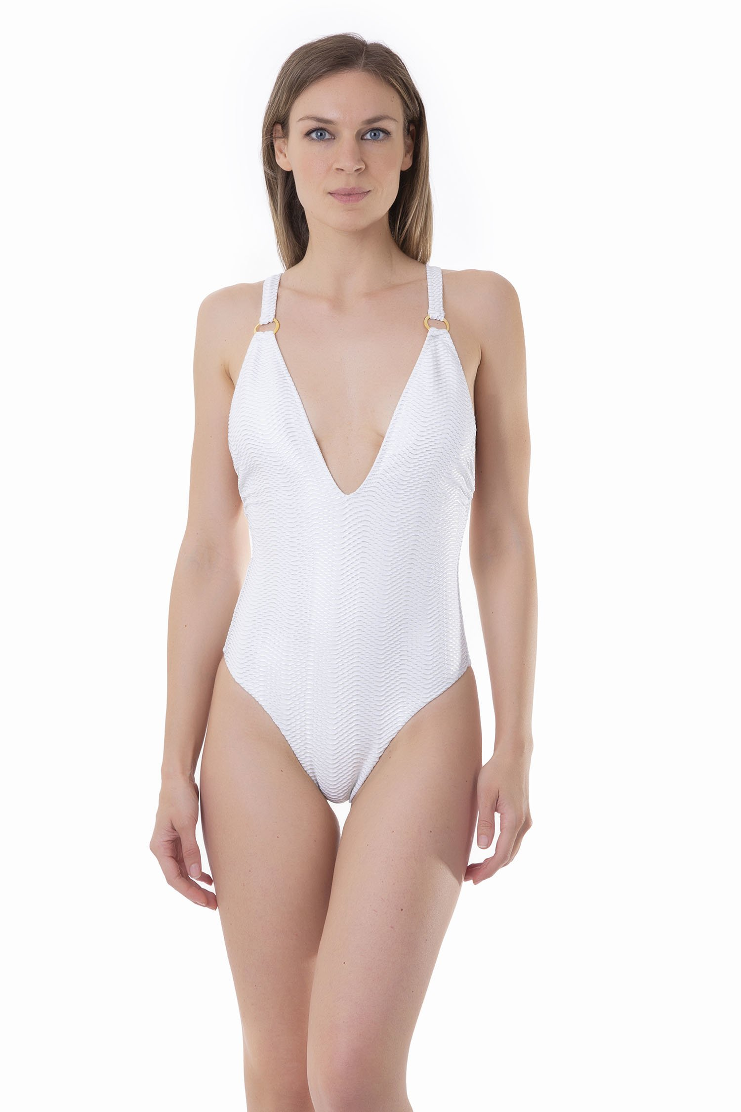 ONE-PIECE WITH DEEP V-NECKLINE - Microfibra Operata Splamata Bianco