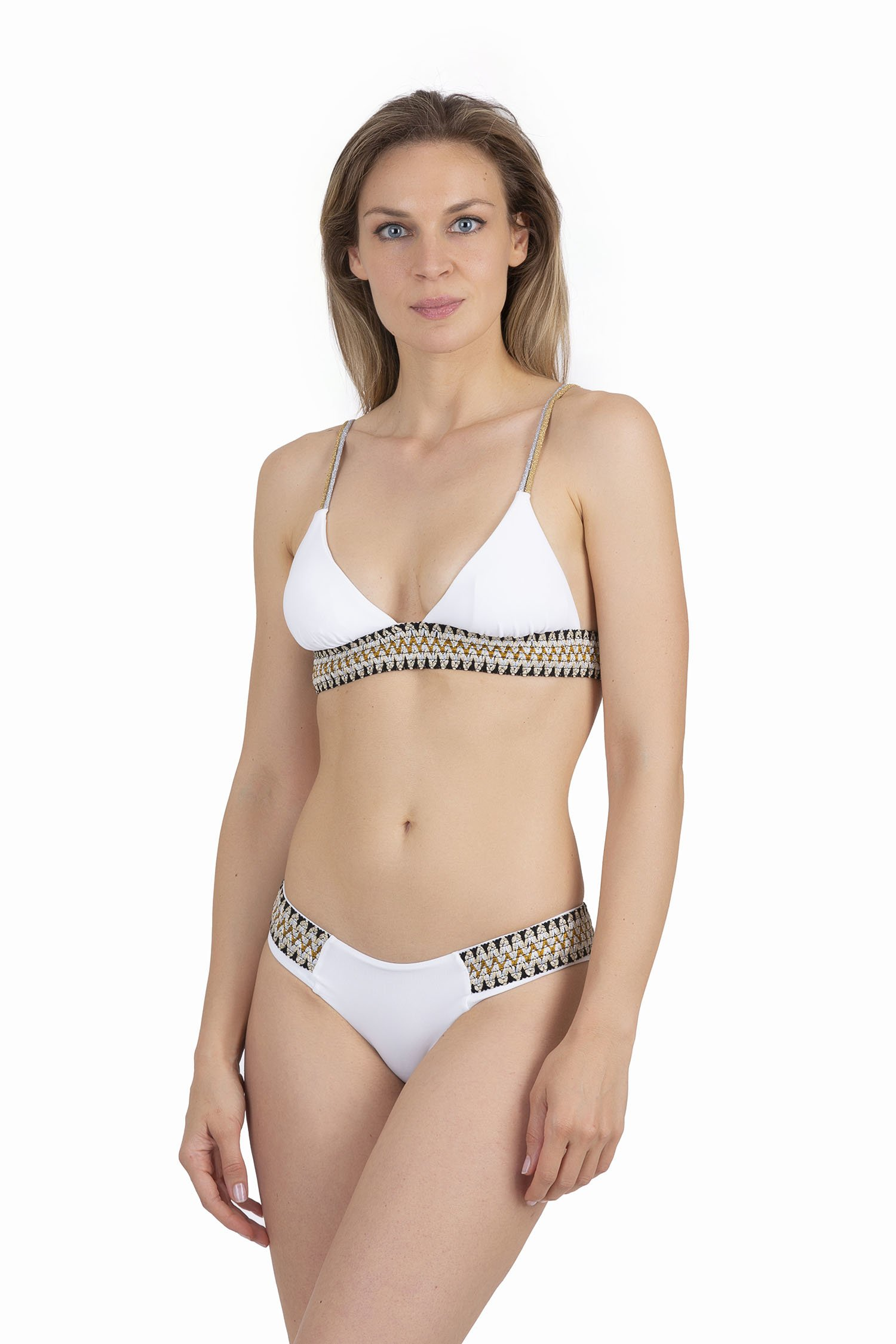 TRIANGLE  BIKINI WITH LUREX ELASTICS - Bianco White 001