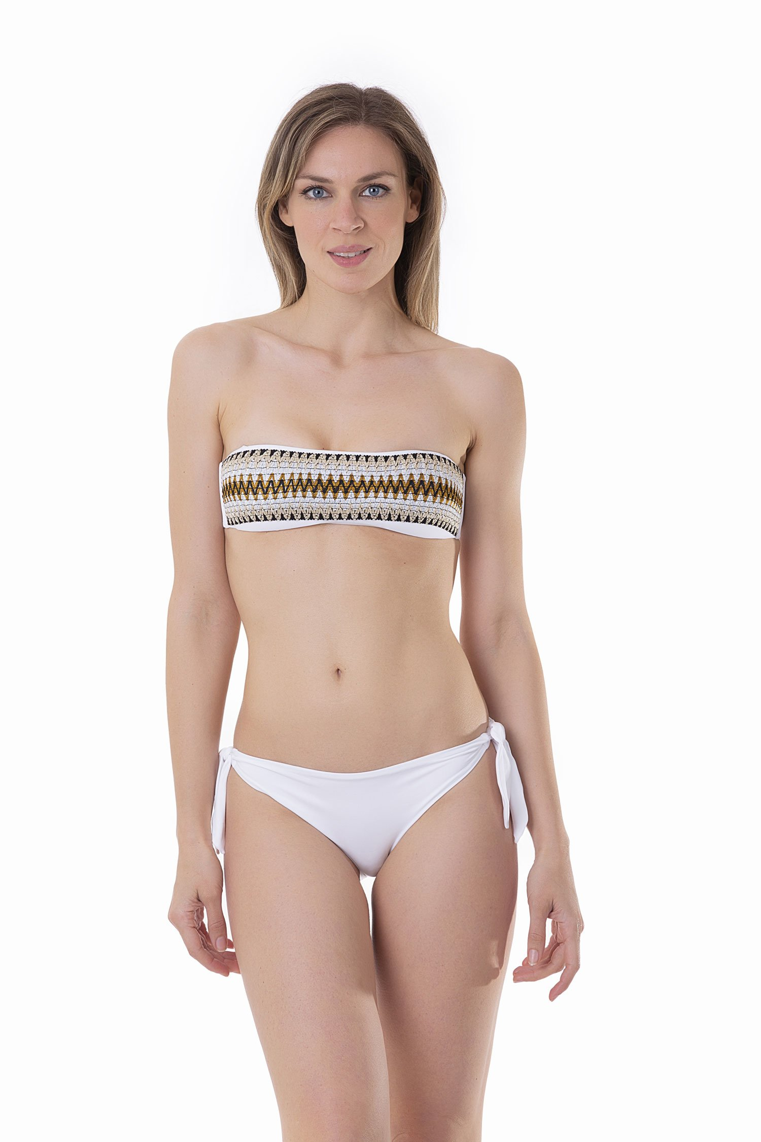 BANDEAU BIKINI WITH LUREX ELASTICS AND BOTTOM WITH TIES - Bianco White 001