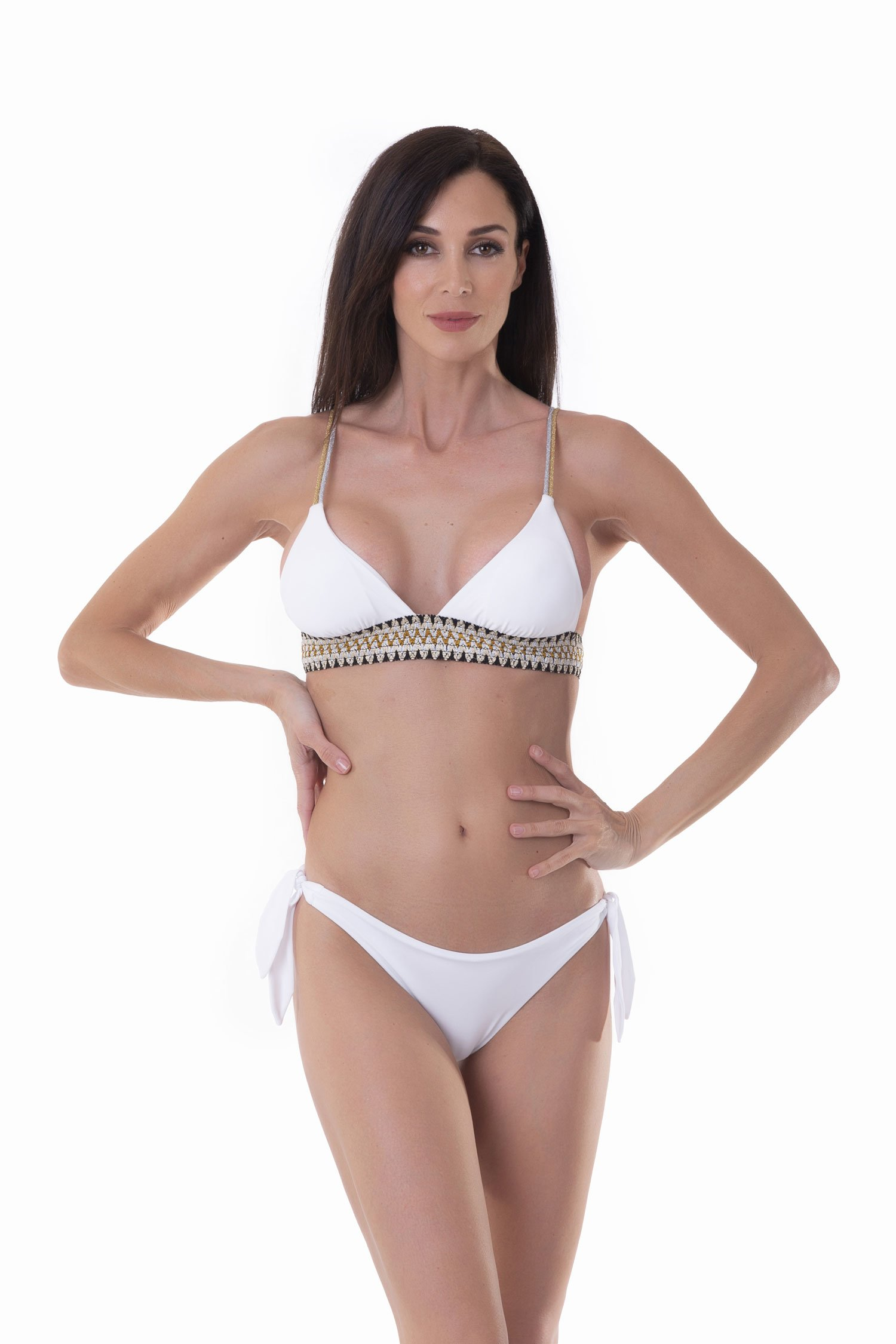 TRIANGLE  BIKINI WITH LUREX ELASTICS AND SLIP WITH LACES - Bianco White 001