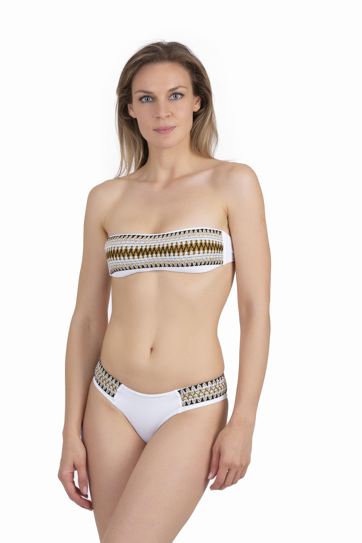 BANDEAU BIKINI WITH LUREX ELASTICS AND CULOTTE BOTTOM - Bianco White 001