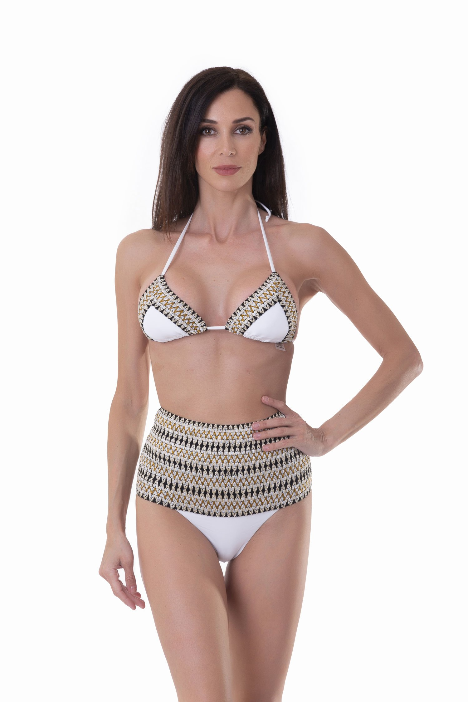 TRIANGLE BIKINI WITH LUREX ELASTICS AND HIGH-WAIST BOTTOM - Bianco White 001