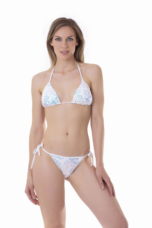 TRIANGLE BIKINI WITH CHANGING PAILLETTES AND SLIP WITH THIN STRAPS - Bianco White