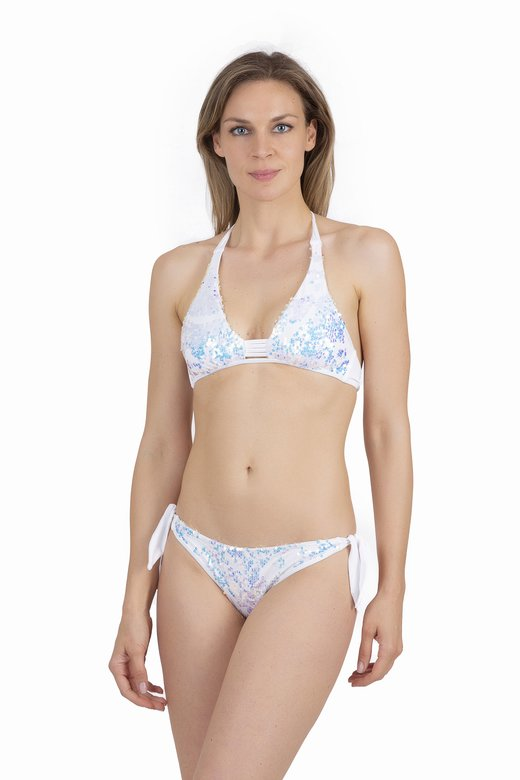 AMERICAN TRIANGLE BIKINI WITH CHANGING PAILLETTES - Bianco White