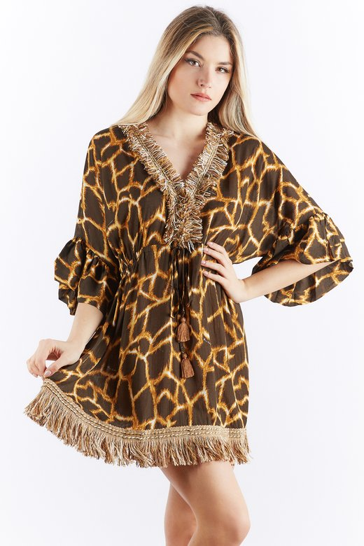 ANIMALIER CAFTAN WITH FRINGES