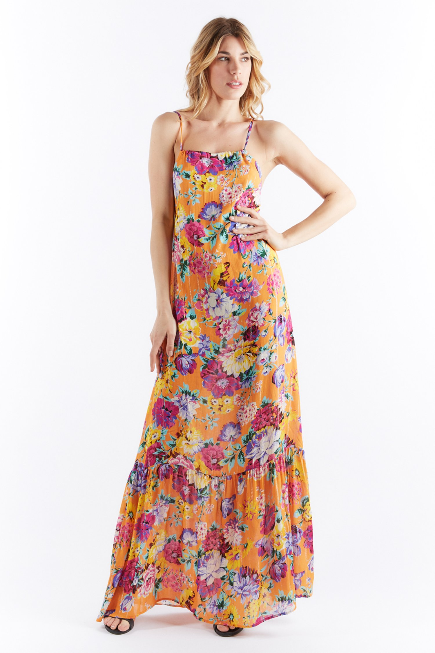 BARED BACK LONG DRESS - Arancio Fiore