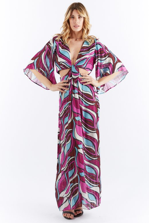 KNOTTED VISCOSE LONG DRESS