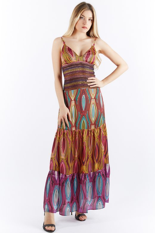 LONG MULTICOLOR DRESS WITH FLOUNCES AND TRIMMINGS