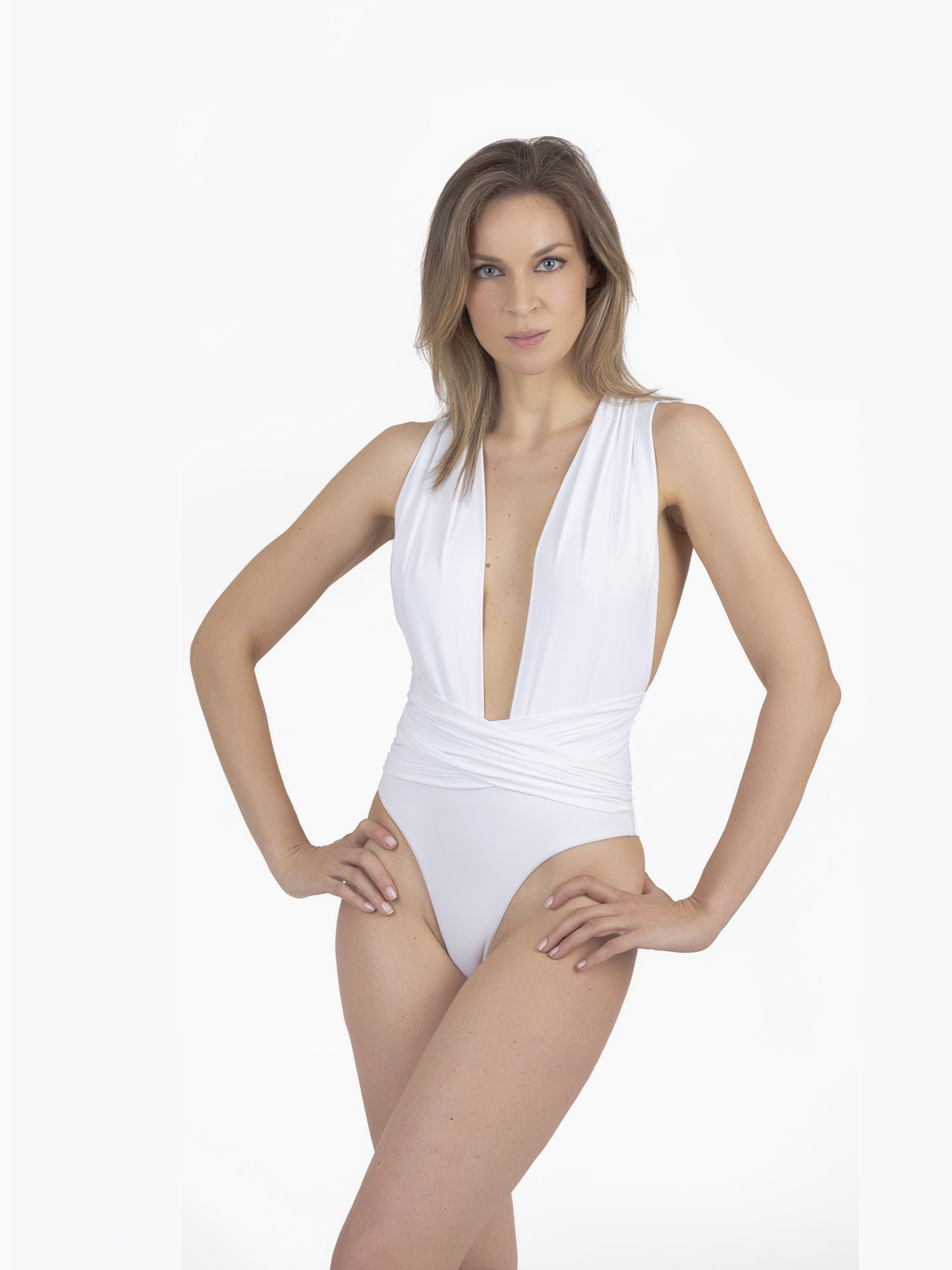 ONE-PIECE SWIMSUIT WITH SASH - Bianco White 001