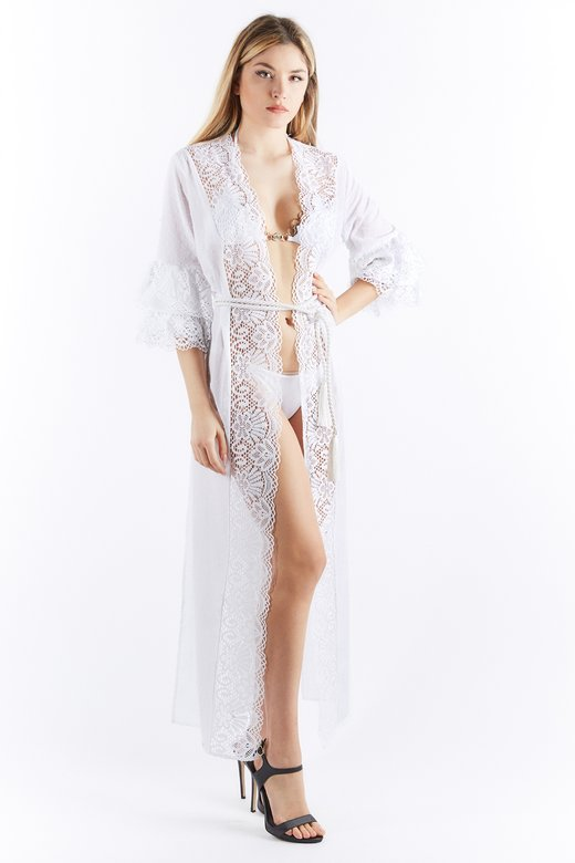 COTTON AND LACE DRESSING GOWN