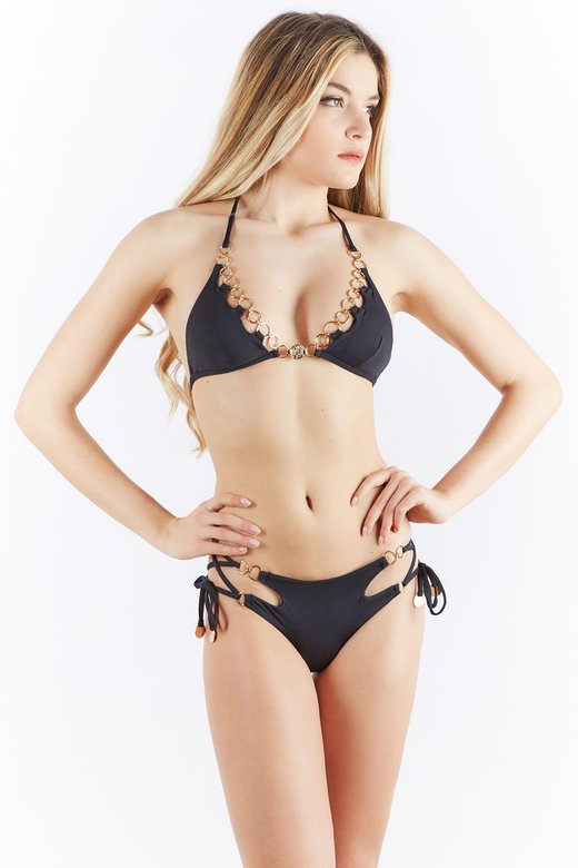 TRIANGLE BIKINI WITH MEDAL AND RINGS OPENING ON THE HIPS