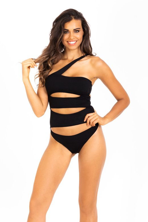 ONE SHOULDER SWIMSUIT WITH BANDS