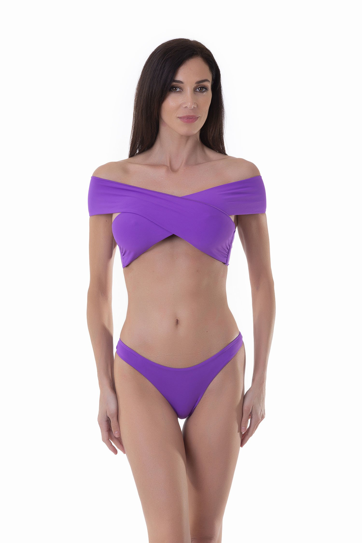 SOLID COLOUR BIKINI TOP WITH CROSSED BANDS - Viola James