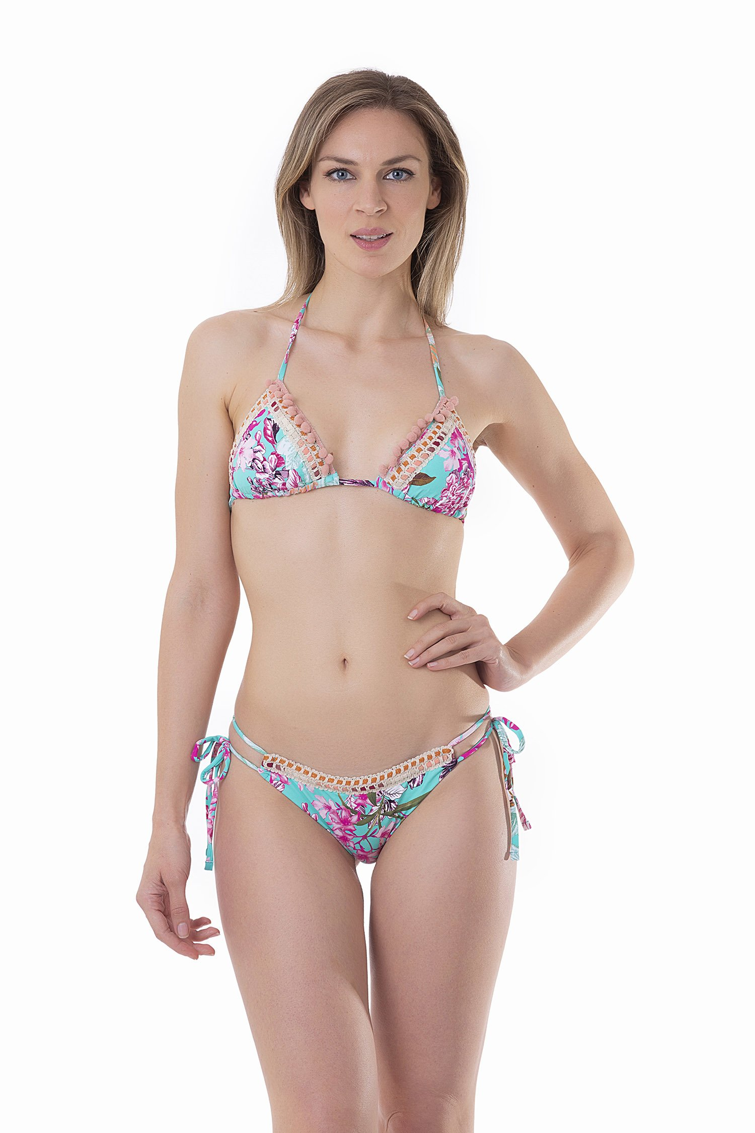 LUXE PRINTED TRIANGLE BIKINI WITH TRIMMING - Fiori Azzurro