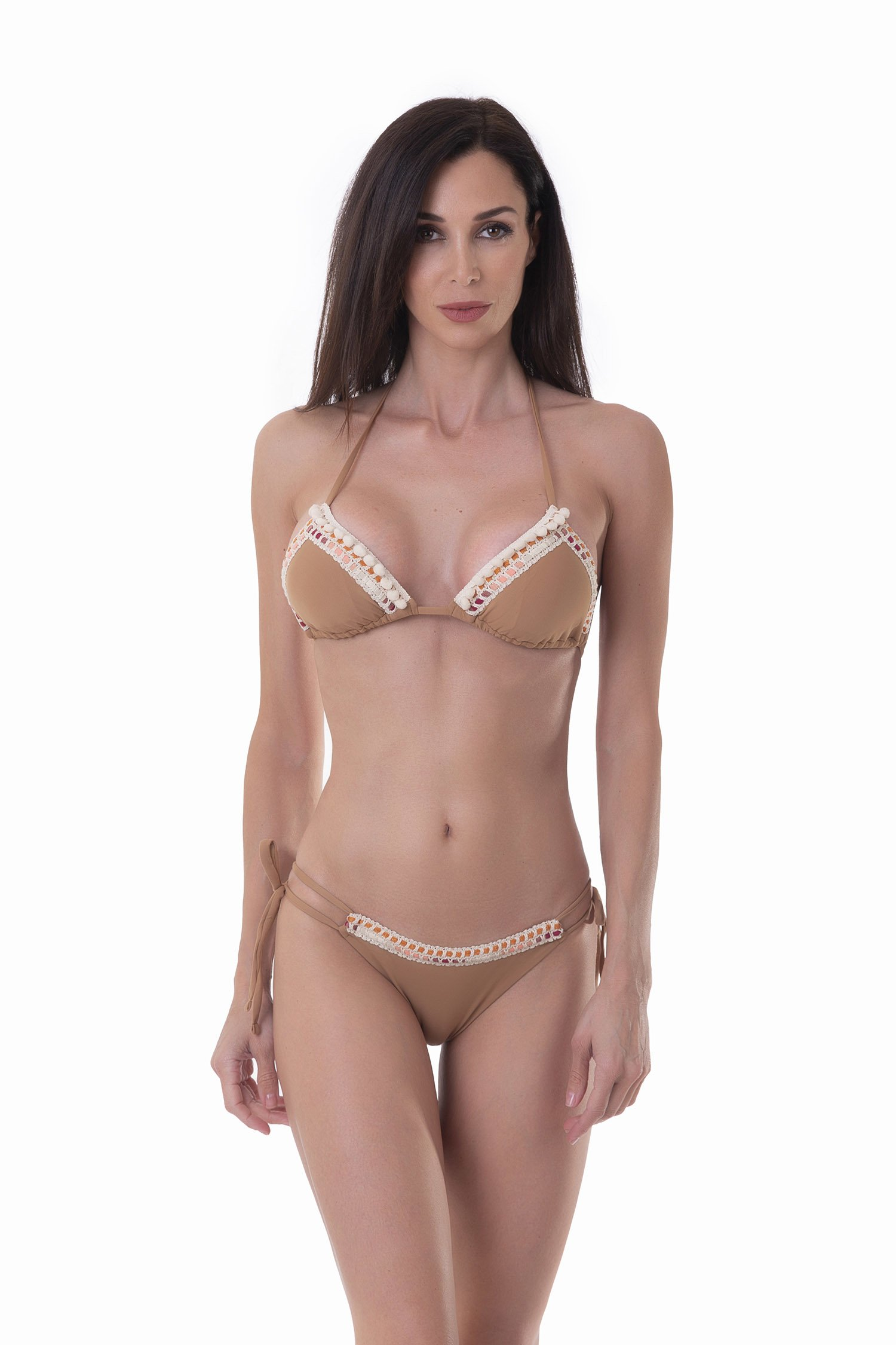 LUXE PLAIN COLOUR TRIANGLE BIKINI WITH TRIMMING - Rame