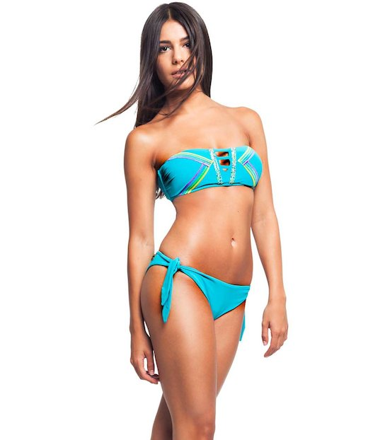 BIKINI A FASCIA CON STRASS APPLICATI