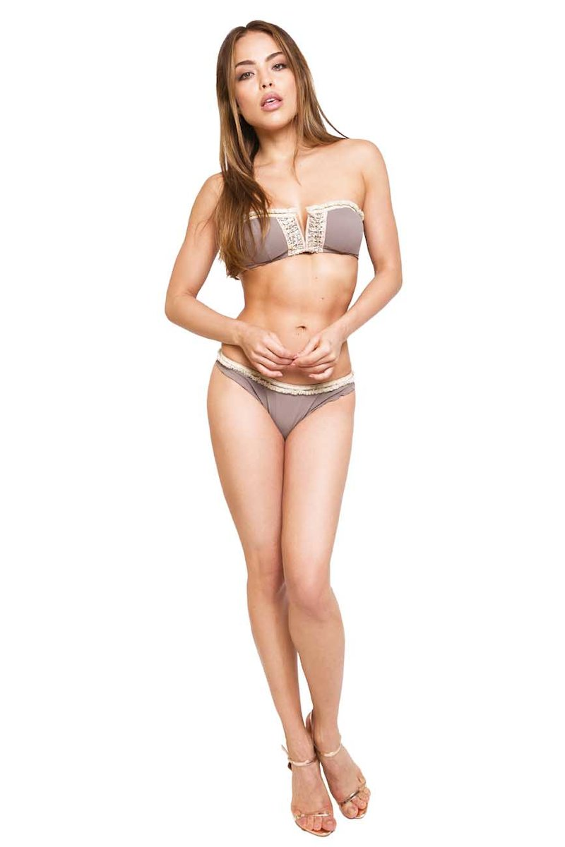 BIKINI APPLICATION SPRING - Microfibra Tortora