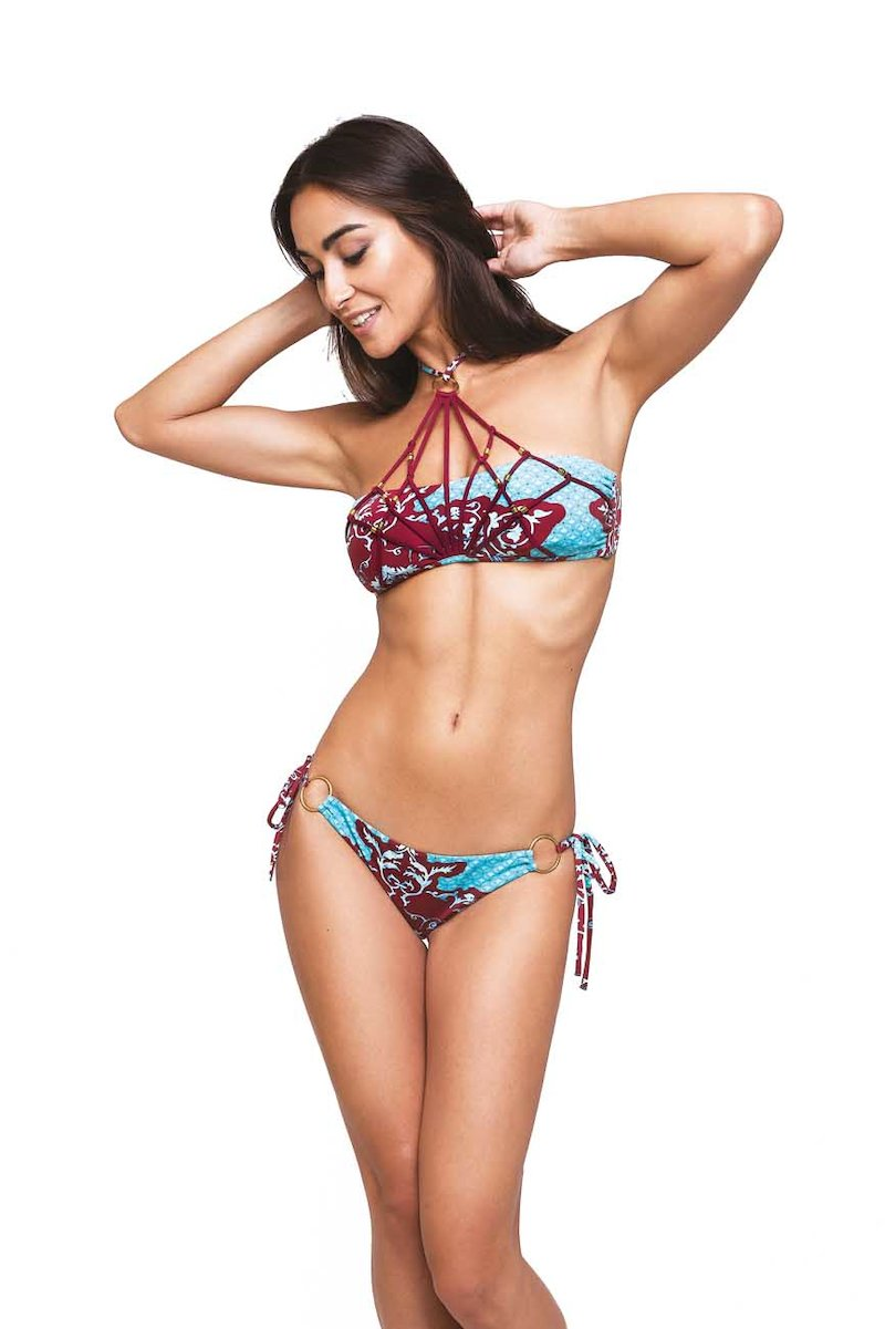 BIKINI EMBROIDERY RIBBONS WITH METAL RINGS - India Turchese