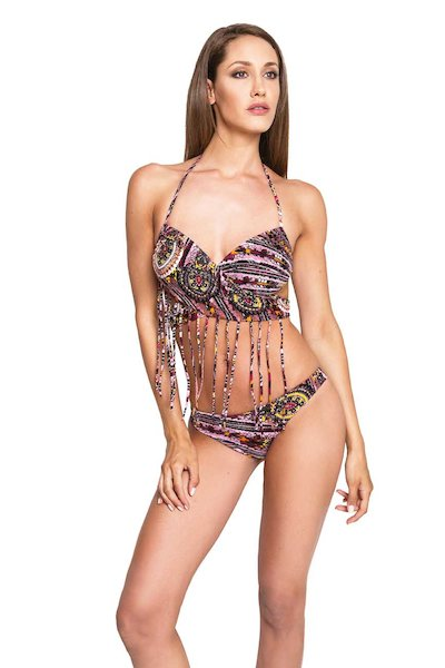 BIKINI TOP INCROCIATO FRANGE E   ELEMENTI METALLO