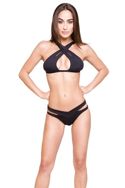 BIKINI TOP INCROCIATO MULTI FIT SLIP ITALIA - Microfibra Nero