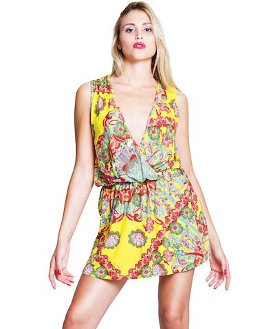 Short Foulard dress - Foulard Giallo