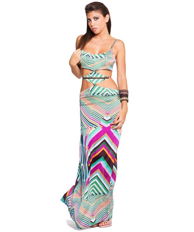 Long Dress - Righe Turchese