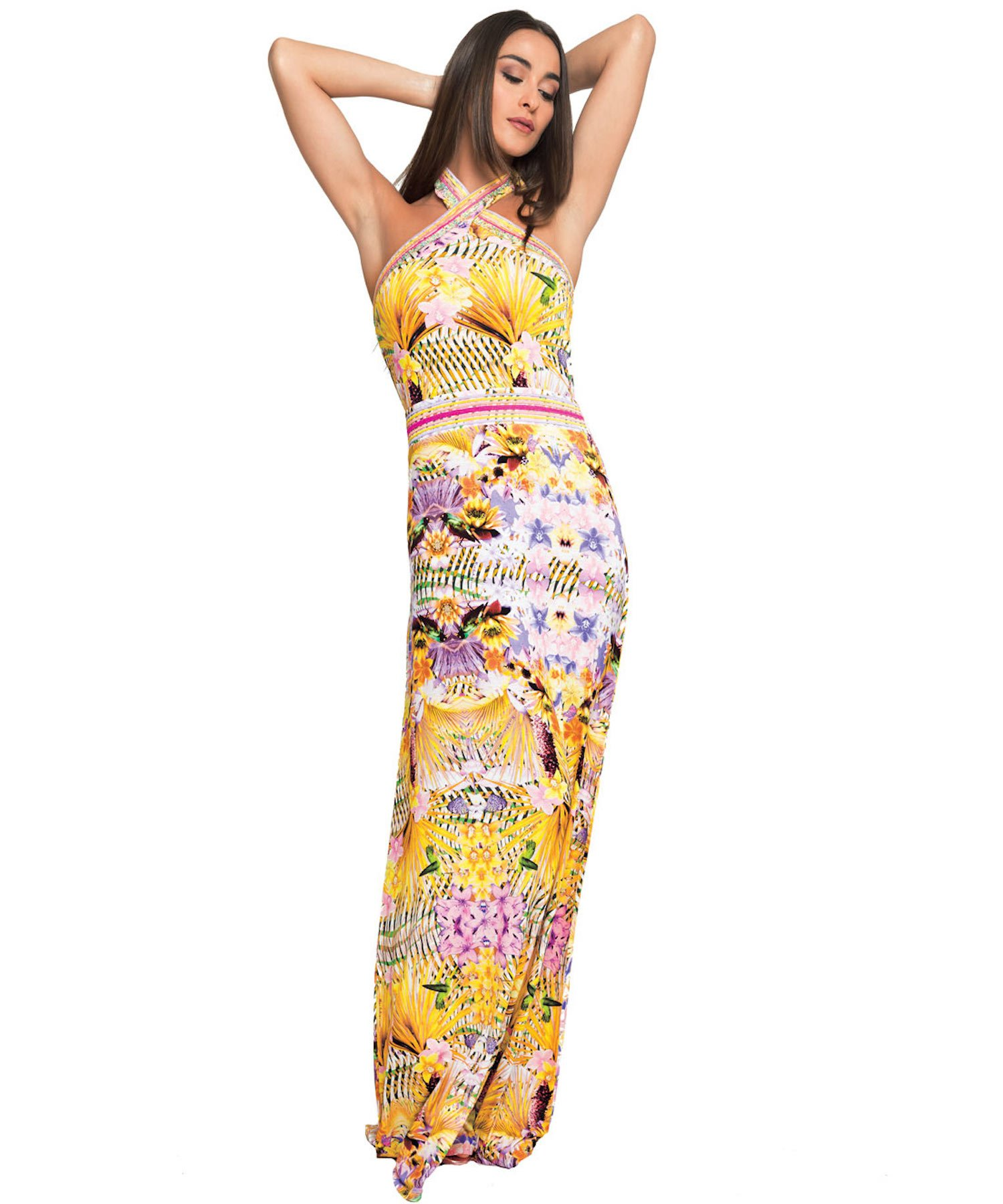 ZANZIBAR DRESS LONG DRESS RHINESTONES 3705 - Zanzibar Rosa