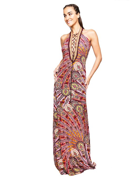 LONG DRESS STRINGED EMBROIDERY THREAD AND CASHMERE