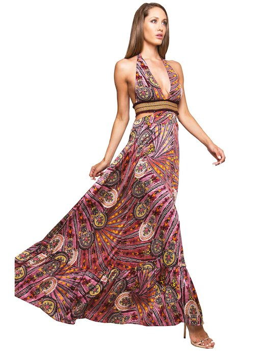 LONG DRESS WITH EMBROIDERY THREAD AND CASHMERE