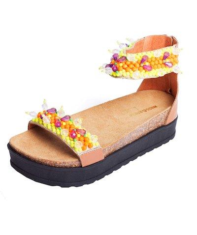 sandalo cavigliera palline flou