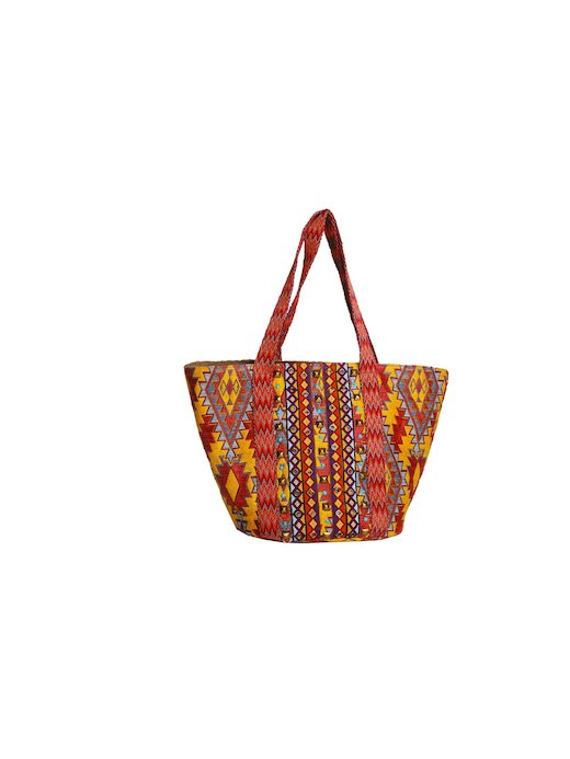 ETHNIC FABRIC BAG WITH APPLICATIONS