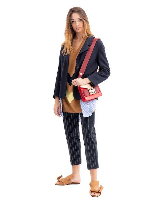 Striped Wool Blend Long Sweater