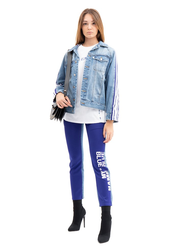 Giacca Jeans Oversize Con Banda Laterale