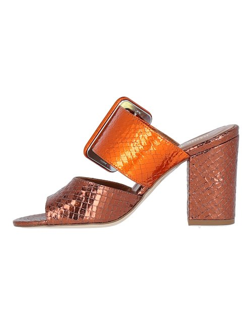 Heeled Laminate Mules