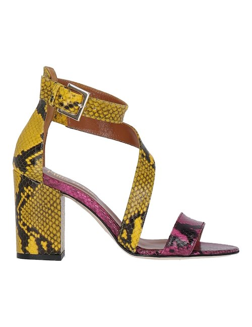 Pink And Yellow Heeled Sandals