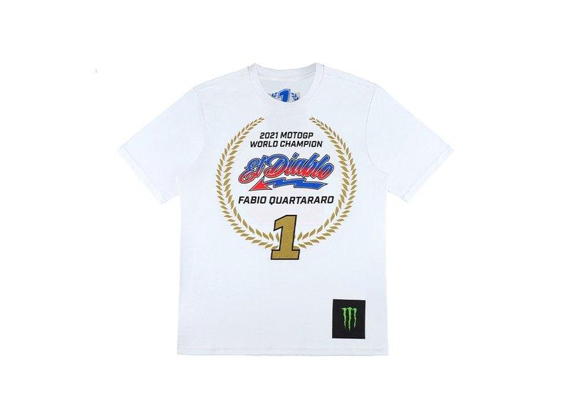 T-shirt Champion du Monde 2021 Fabio Quartararo Blanc