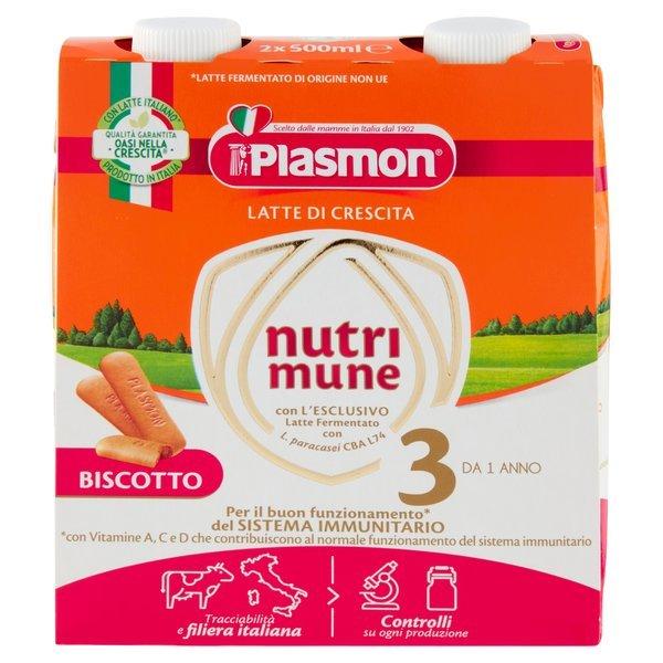 Plasmon Latte di Crescita nutri mune 3 Biscotto 2 x 500 ml
