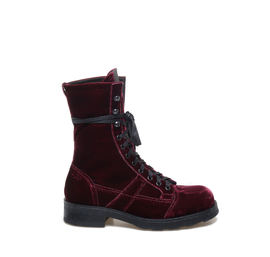 Stewart<br />heeled ankle boots in burgundy velvet