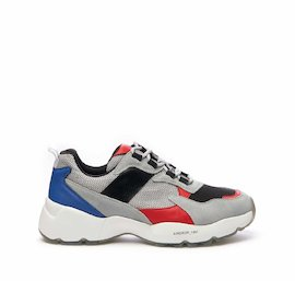 Airdrop running shoe in mixed materials with blue and red details
