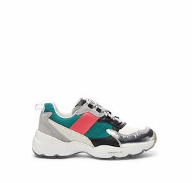 Airborne running shoe with laminated toe and fuchsia/turquoise details