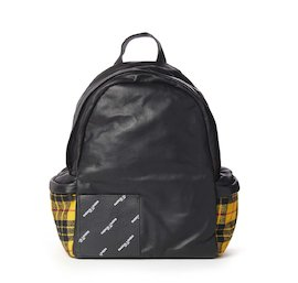 Leather and tartan backpack