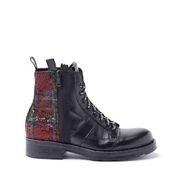 John dual-material red tartan military boots with sequins