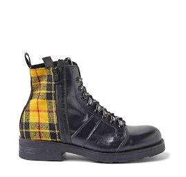 John dual-material yellow tartan military boots
