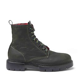 Amtrac green waxed fabric military boots