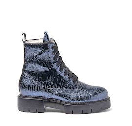 Amtrac blue crackled leather military boots with a sheepskin lining