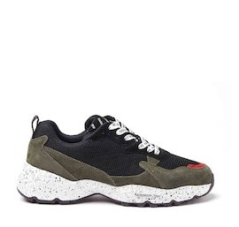 Airdrop military green mixed material sneakers