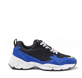 Airdrop blue mixed material sneakers
