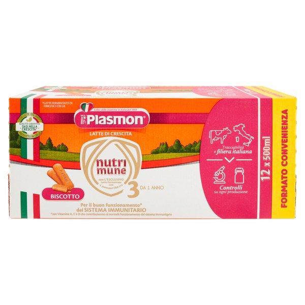 Plasmon Latte di Crescita nutri mune 3 Biscotto 12 x 500 ml